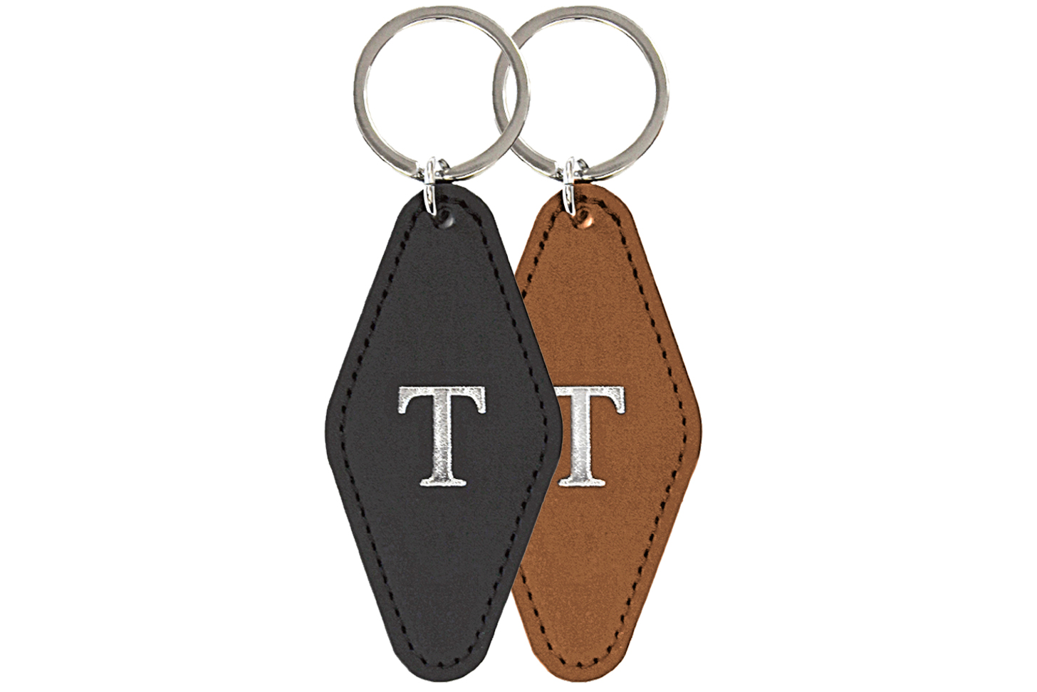Keychain in black and tan leather